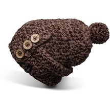 W Button Beanie Brown